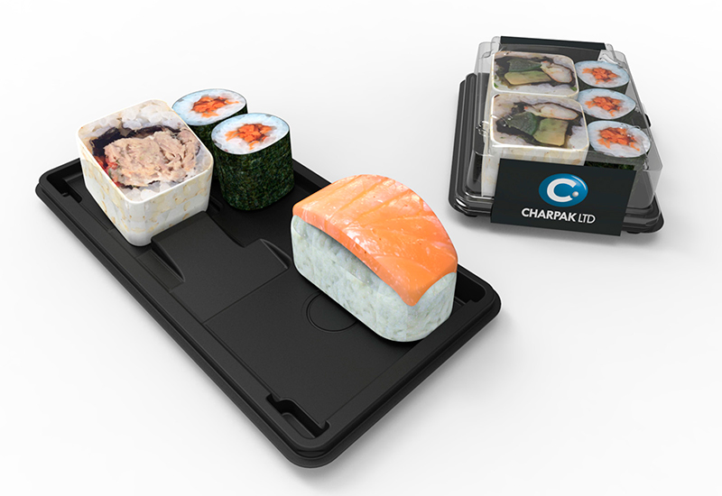 Interior and exterior plastic Sushi packaging