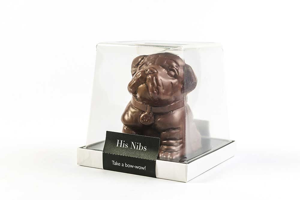 Chocolate dog in plastic packaging