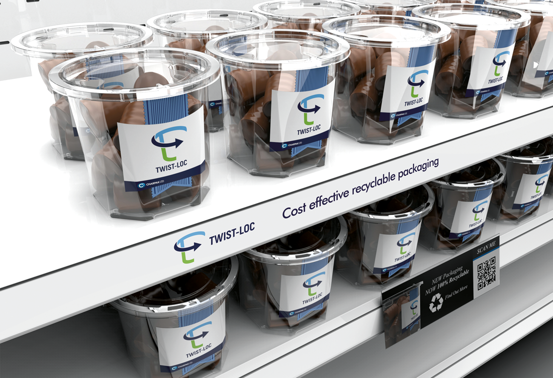 Charpak twist-loc packaging on two shelves