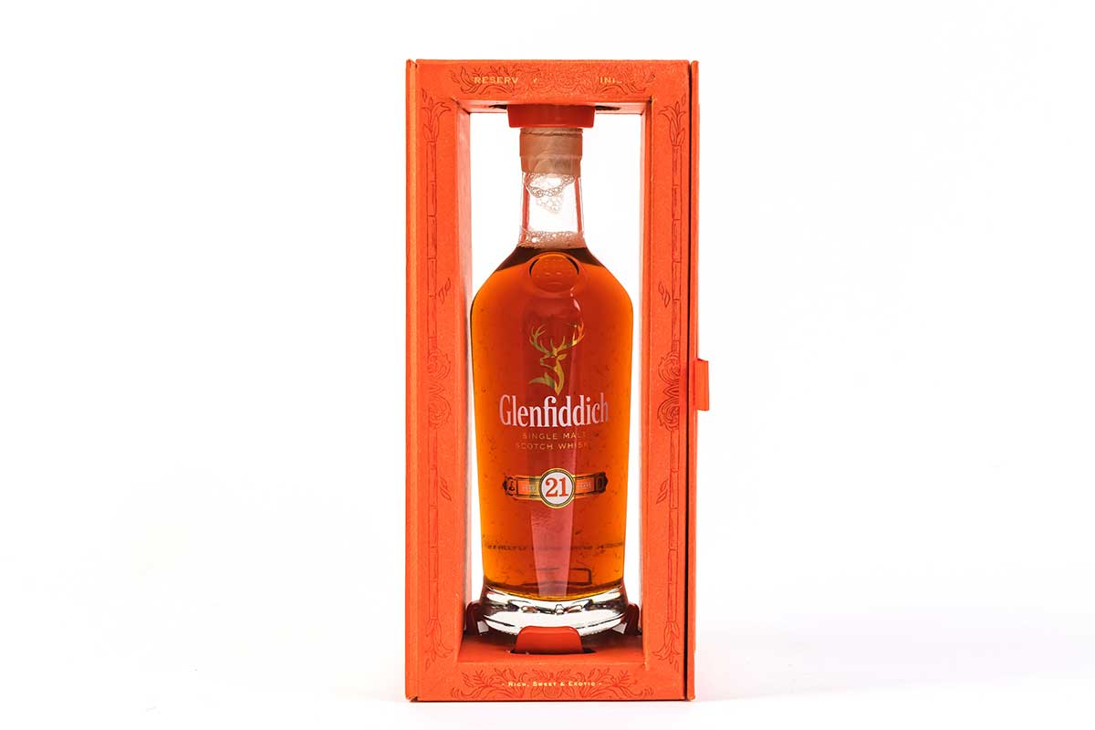 Glenfiddich bottle inside decorative packaging