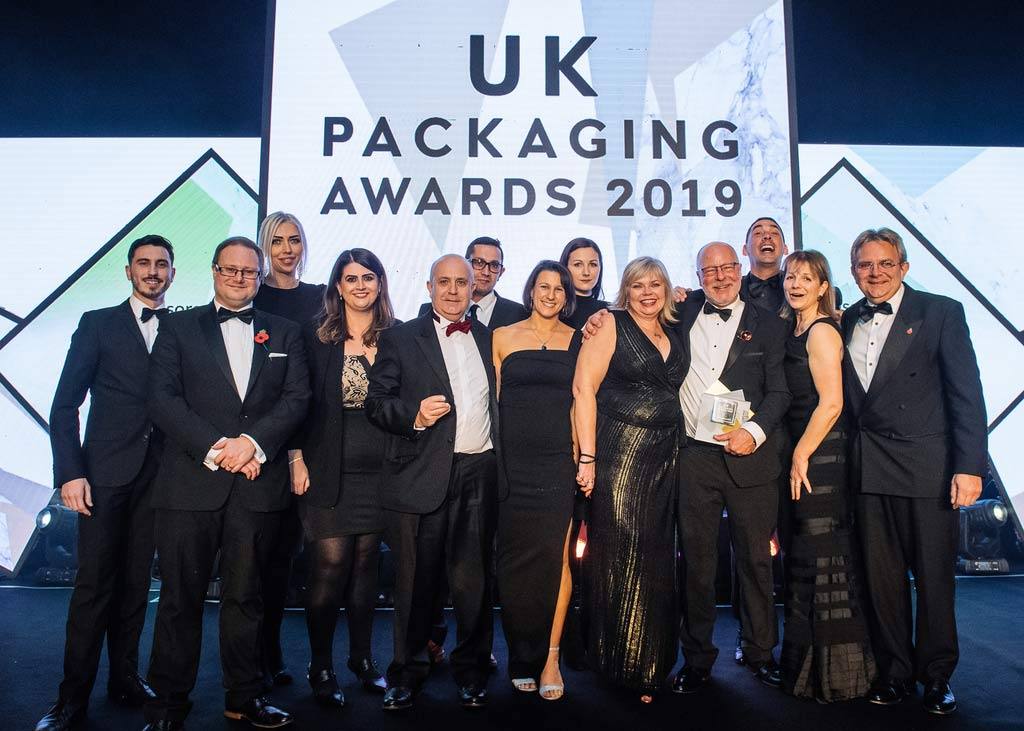 Charpak Ltd announcing winners of the UK Packaging Awards Innovation of the Year 2019 category for their Waitrose Treat Tubs in rPET packaging Twist-Loc Treat Tubs