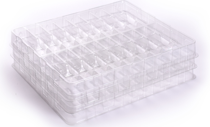 Charpak stackable high performance engineering rPET clear trays